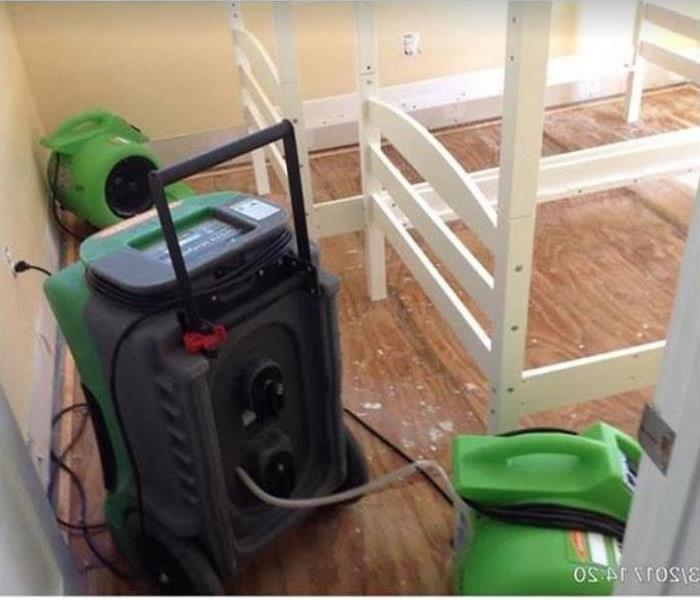 SERVPRO equipment drying water damaged room