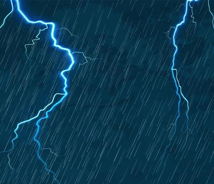 Rain and lightning on a blue background