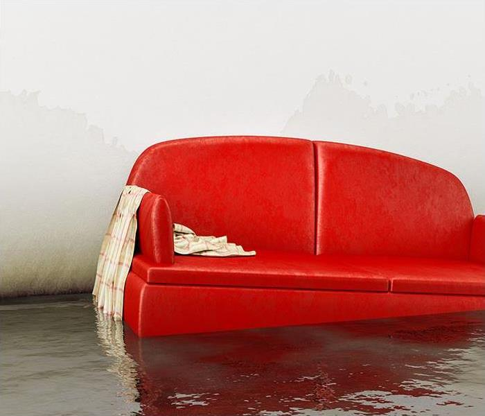 Room with a red couch floating in a pool of water