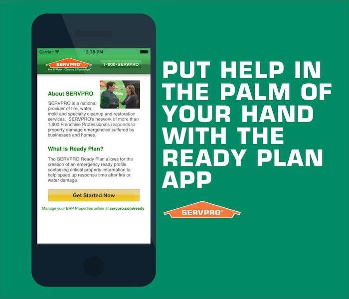 "phone in the Emergency Ready App and a caption saying ""Put Help in the Palm of your Hand with the Ready Plan App."""